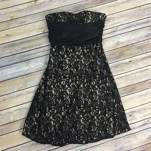 WHBM Dress Lace Black Nude Cocktail Strapless